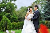 Wedding. Happy young bride and groom portrait — Stock Photo