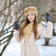 Beautiful girl portrait in winter — Stock Photo