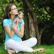 Woman with puppy — Stock Photo #34879501