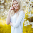 Young beautiful blonde woman in a dress in blooming apple garden — Stock Photo