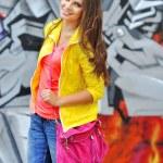 Beautiful young stylish woman with bag — Stock Photo