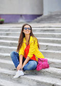 Young beautiful stylish girl portrait outdoor — Foto de Stock