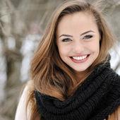 Closeup of a beautiful girl face portrait — Stock Photo