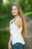 Young sensual woman portrait outdoor — Stock Photo
