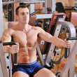 Bodybuilder training at gym — Stok fotoğraf
