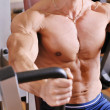 Bodybuilder training at gym — Stockfoto