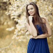 Young sensual model girl - outdoor portrait — Stock Photo