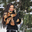 Outdoor portrait of young pretty beautiful woman in cold winter  — Stock Photo