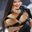 Young woman in winter - outdoor portrait  — Stok fotoğraf