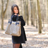 Portrait of young pretty woman with handbag — Stock Photo