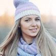 Woman with hat and scarf - outdoor — Stock Photo