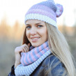 Stock Photo: Beautiful caucasian winter woman outdoor