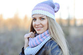 Beautiful caucasian winter woman outdoor — Stock Photo