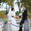 Wedding couple near the river  — Stock Photo