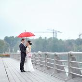 Wedding couple in a rainy day - portrait — Stock Photo