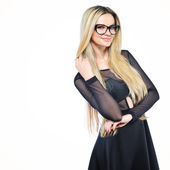 Young sensual blonde woman in glasses - isolated on white backgr — Stock Photo