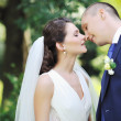 Stock Photo: Kissing wedding couple - close up