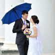 Wedding couple portrait outdoor — Stock Photo