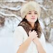 Beautiful winter portrait of young woman — Stock Photo