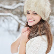 Beautiful winter portrait of young woman — Stock Photo