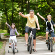 Happy family in the park on bicycles — Stock Photo