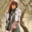 Fashionable stylish womin casual dress wearing sunglasses wit — Stock Photo #38304659