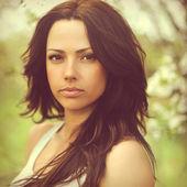 Beautiful woman face - outdoors — Stock Photo