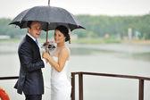 Beautiful wedding couple - outdoors — Stock Photo