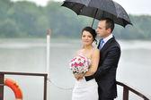 Young wedding couple outdoor portrait — Stock Photo