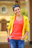 Portrait of pretty cheerful young woman — Stock Photo