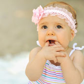 Beautiful cute baby - outdoor portrait. Closeup — ストック写真