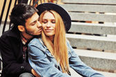 Young couple in love. Outdoor close up portrait  — Stock Photo