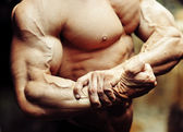 Close up on a bodybuilder biceps. Strong arm and chest — Stock Photo