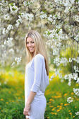 Portrait of beautiful, sexy woman outdoors in spring — Stock Photo