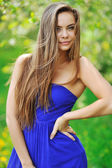 Beautiful young brunette woman portrait outdoors  — Stok fotoğraf