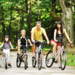 Happy family on a bicycles in the countryside — Stock Photo #45860793