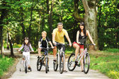 Happy family on a bicycles in the countryside — Stock Photo