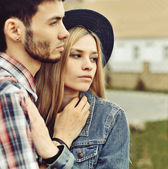 Portrait of young sensual couple outdoor  — Photo