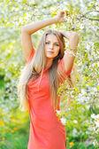 Beautiful blonde woman in spring — Photo
