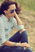 Woman in sunglasses - outdoor. Closeup  — Stock Photo