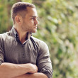 Thoughtful serious man outdoors portrait — Stock Photo #47167017