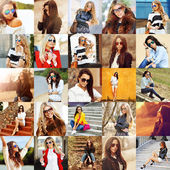 Group portraits of fashion women in sunglasses  — Stock Photo