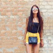 Young sensual model female in sunglasses — 图库照片