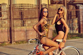 Cool young model girls with vintage bicycle — Stock Photo