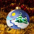 Handpainted christmas balls with tinsel — Stock Photo