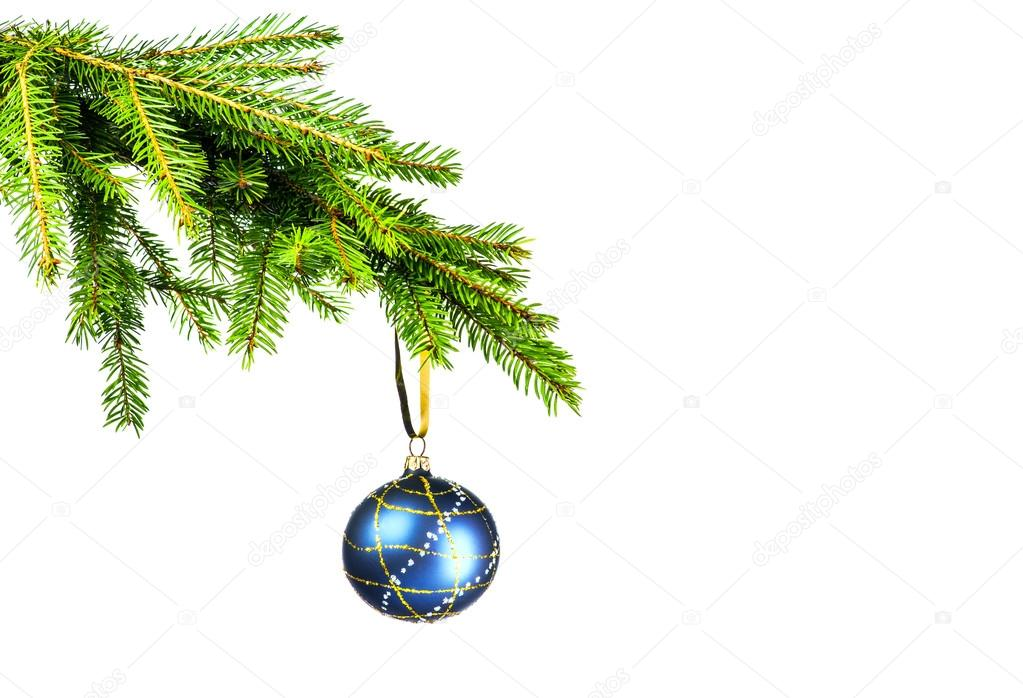 Blue Christmas ball and Christmas tree on white background  Stock Photo #14474355