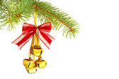Christmas decoration with bells isolated on white background — Stock Photo