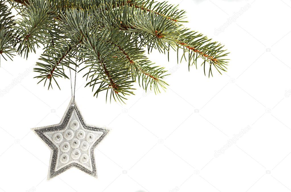 银星圣诞树装饰品挂从隔绝了反对白松木树分支