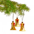 Christmas bells, decoration on the tree — Stock Photo