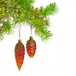 Christmas decoration. Red cones toy on christmas tree — Stock Photo